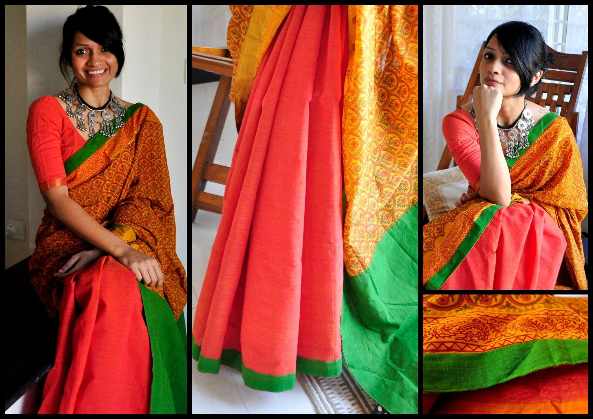 Cotton Collection The Lost Postcard 06 Earthyness Double Shaded Peach And Orange Printed Partly Pallu Cotton
