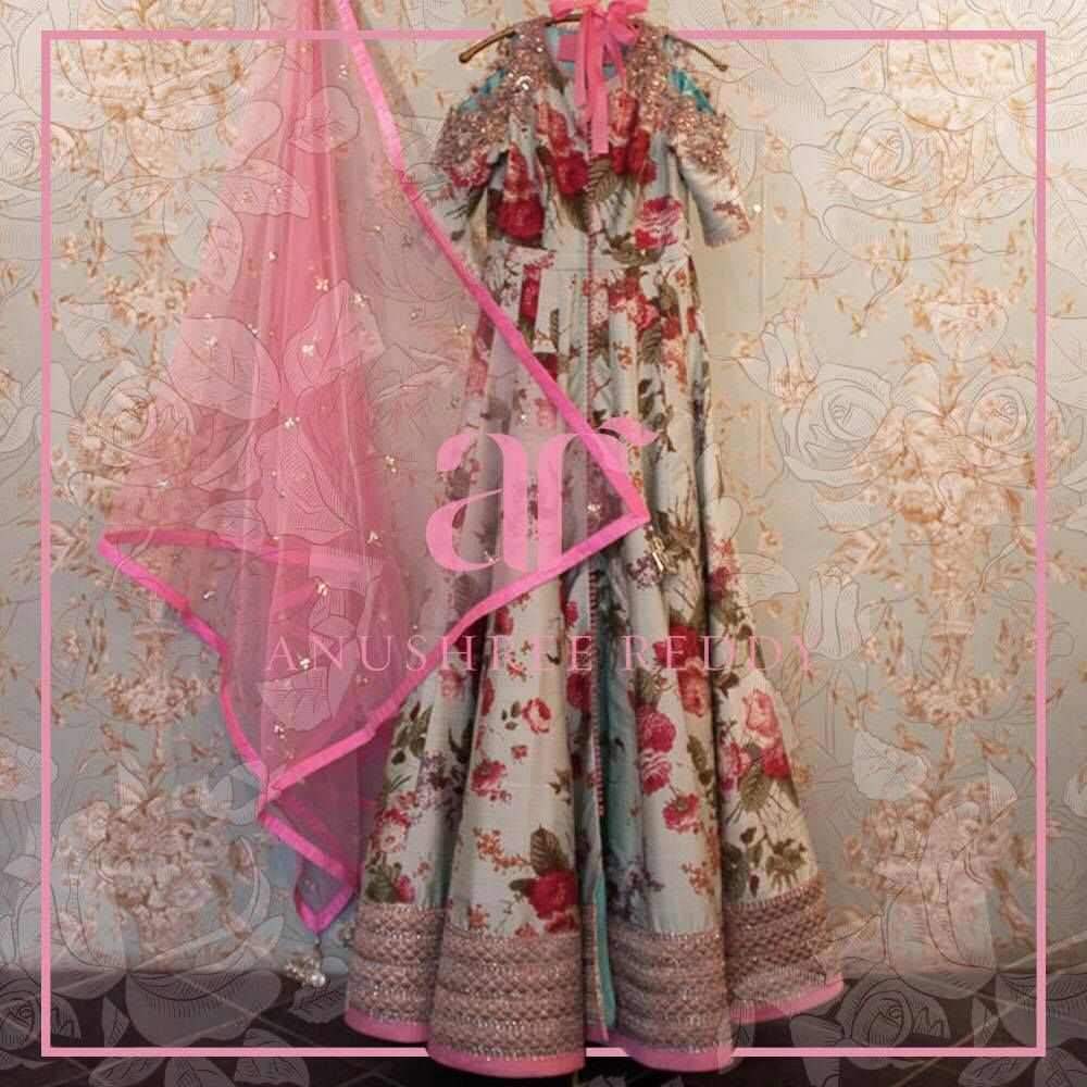 Anushree Reddy designed romantic Anarkali with ruby red blossoms is your perfect summer soir pick!