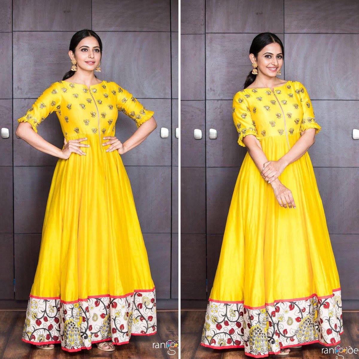 Pretty in yellow! Rakul Preet in Drama Queen and Shubhashini Ornaments for Rarandoi Veduka Chudam promotions.Rangde Photography Bramhini Ashwitha.