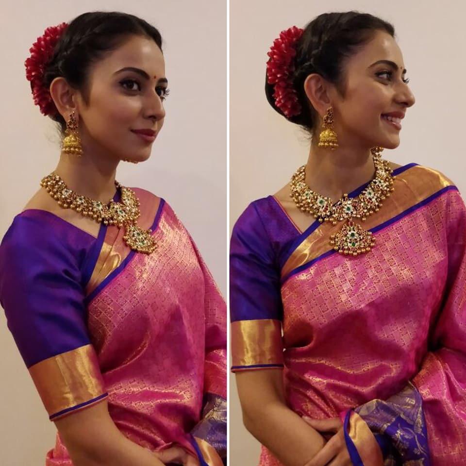 Rakul Preet Singh in RS Brothers saree and Manjula jewellery for the store launch ManognaSanjana ?? styled by Neeraja Kona.