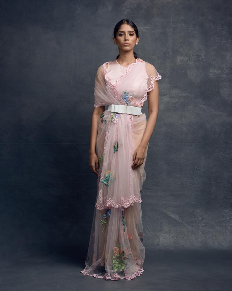 Timeless florals and refreshing  pastels. Make a statement in our pink botanical saree pink scallop blouse and finish the look with a beautiful bow belt.  Photo Credits : Irfanintekhab  Model : Monika Thangalapalli  Makeup : Ronan mili