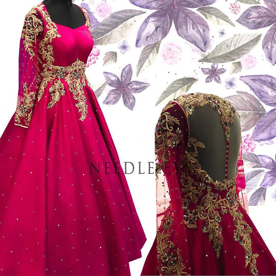 Wedding season and such elegant gowns are a must. Gorgeous floor length wedding dress with floret lata design hand embroidery gold thread and zardosi work. Wedding dress with net full length sleeves.