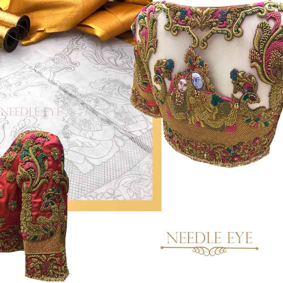 The divine love between Radha Krishna illustrated on Needle eye blouse. The beautiful face of  Radha krishna you see is exquisitely hand painted on the fabric. This is one of a kind design.