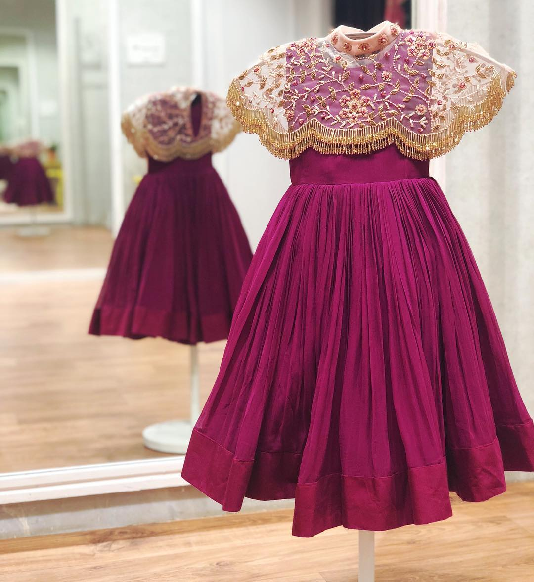 IssaMinis : Plum Pleated frock with peach fringes cape!!! . . . WhatsApp +91-9949944178 or e-mail to info@issastudio.com for more information