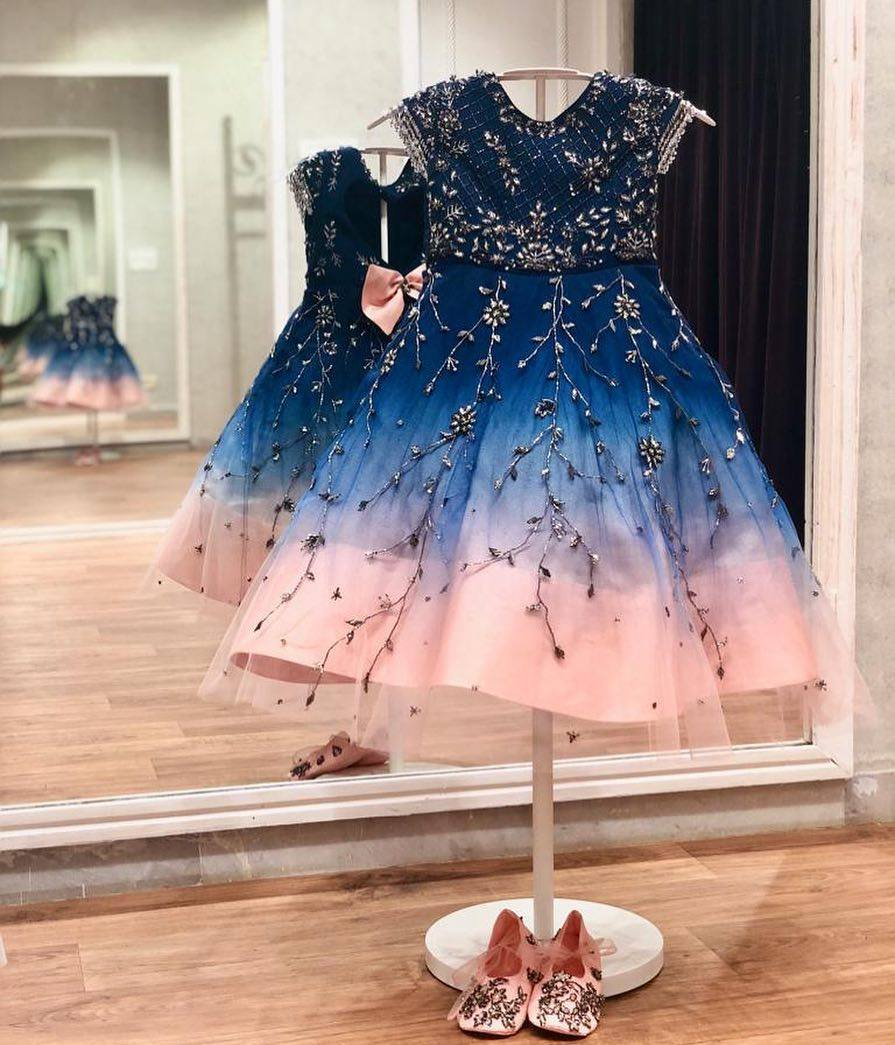 IssaMinis : Deep Blue to peach ombr frock!!! . . . WhatsApp +91-9949944178 or e-mail to info@issastudio.com for more information