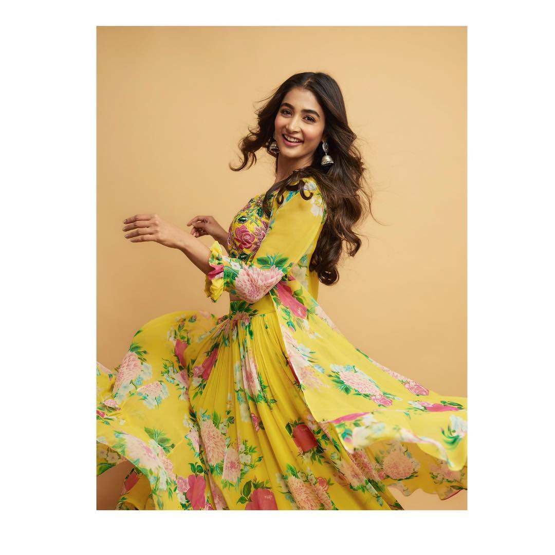 Happy girls are the prettiest . Stunning actress   Pooja Hegde for Maharshi movie promotions in   Mrunalini Rao. Jewellery by  Kaluva by Neeraja Kona. Photography by  Akshay Rao Photography. Asst by Manogna Gollapudi.