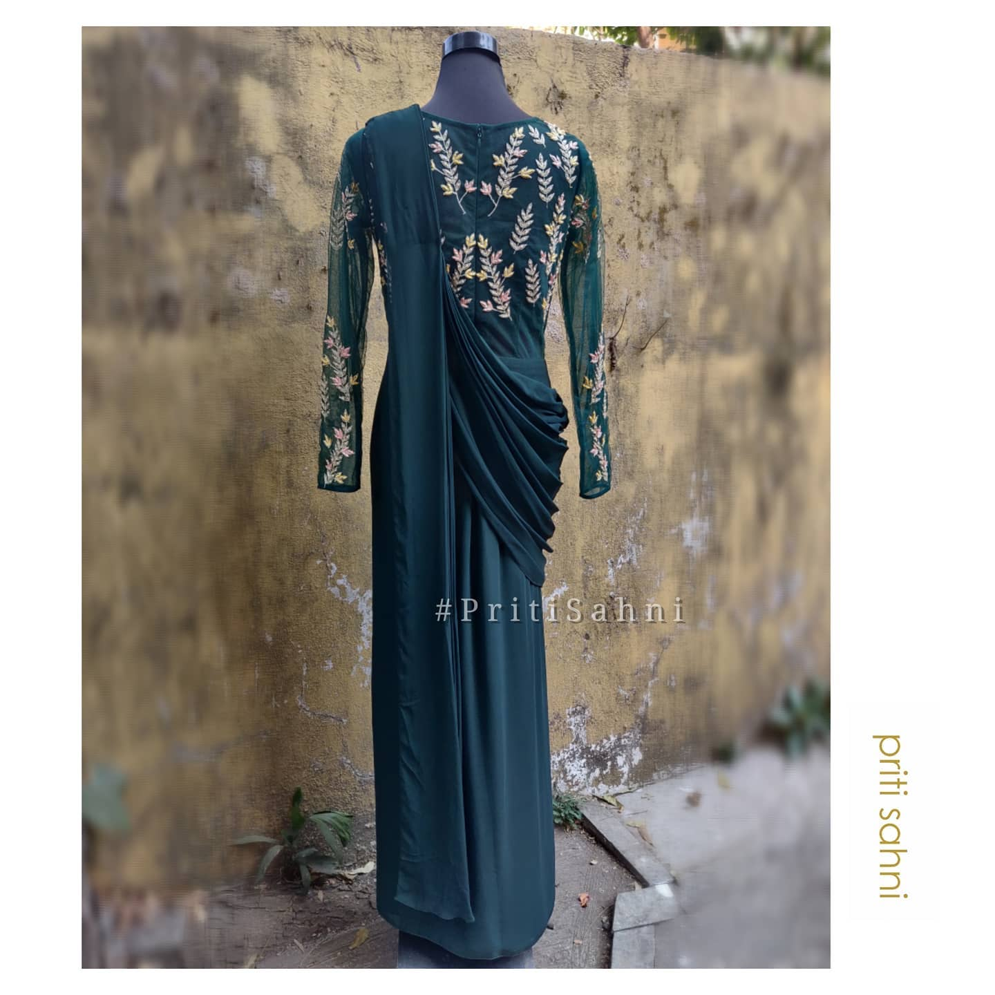 Deep Forest Green Draped Saree Gown In Flowy Georgette With Contemporary Sequin Colorful Silk Thread And