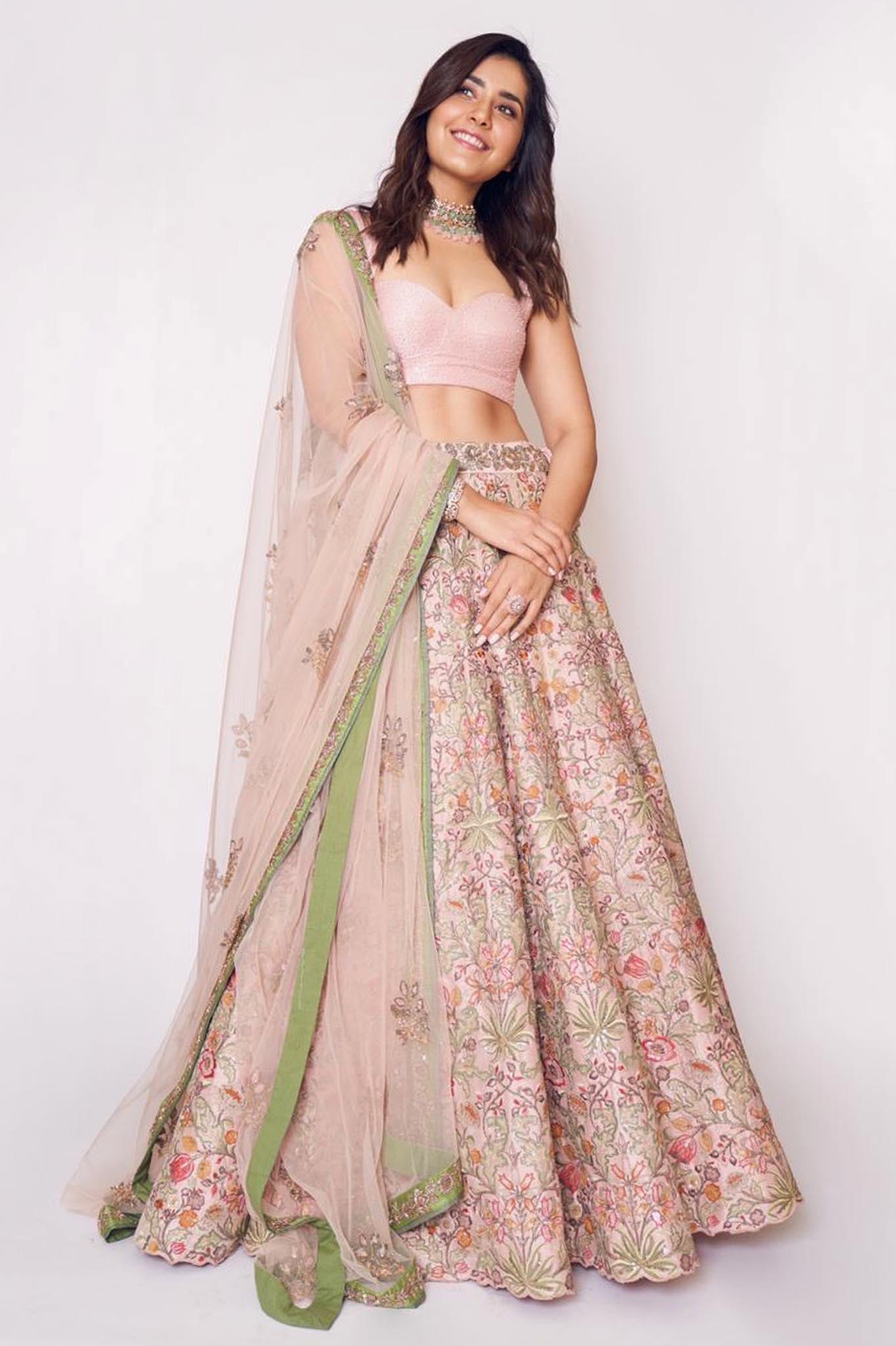 Raashi Khanna in a breathtakingly elegant lehenga with floral embroidery from Shyamal Bhumika Spring 2020 collection.  Raashi Khanna Outfit- Shyamal Bhumika. Styled by- Ashwin ash. Photography- Eshaangirri. Makeup- Chaks. Hair- Venkatesh.
