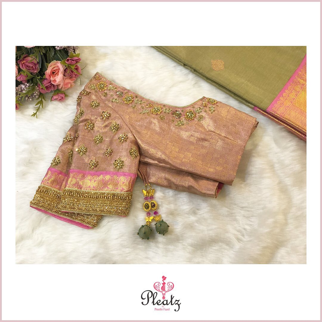 Bridal blouse with beautiful floral motifs ! Lialic designer blouse with floral motif hand embroidery work.