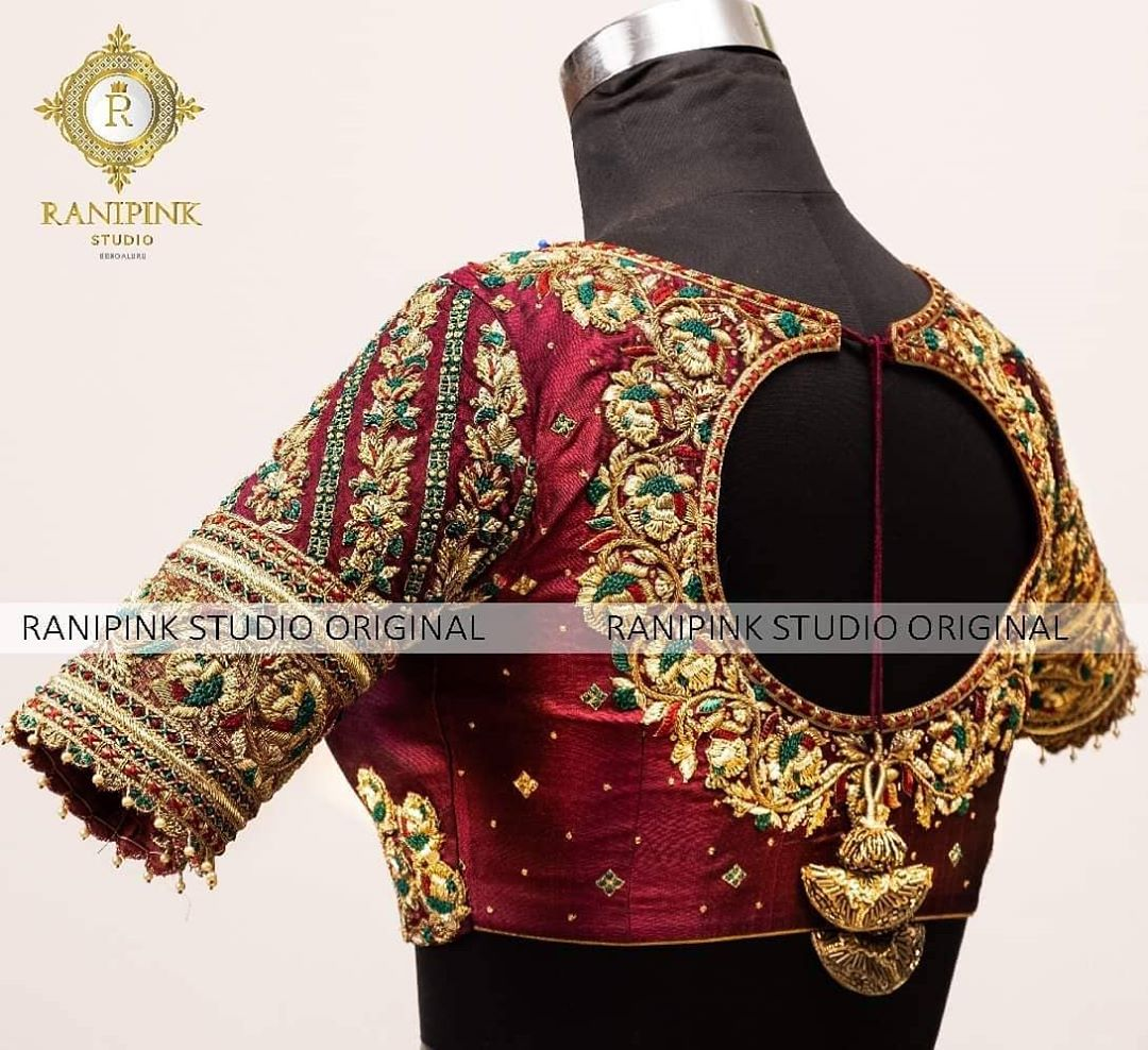 Featuring a bottle green silk blouse from the house of Ranipink Studio. The sleeve is fully embroidered with beaten zari work along with contrasting borders of resham and other elements. The ends of the sleeves are embellished with pure kundan stones.  For appointments call/WhatsApp on 8884620620 2020-07-16