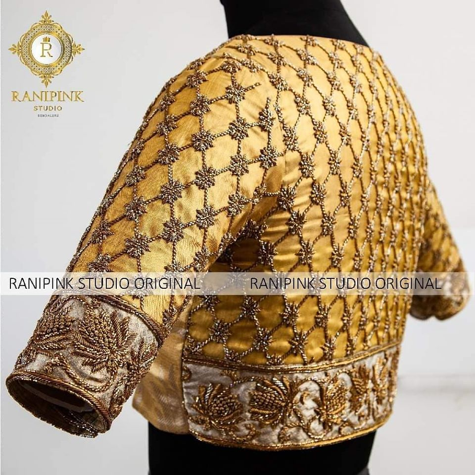 Featured is a beautifully crafted gold tissue blouse embellished with antique cut bead embroidery. The handmade border on the sleeve and back is a exquisite combination of cut bead and dabka from Rani Pink studio.  For appointments call/WhatsApp on 8884620620 2020-07-17