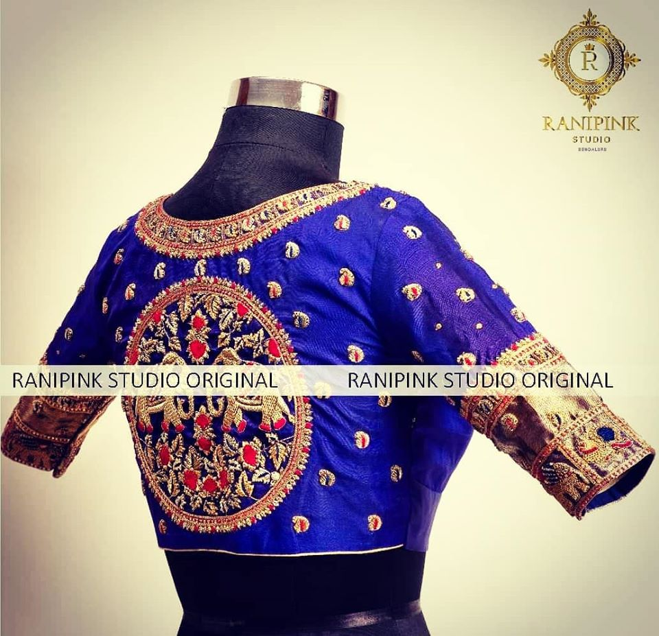 Featuring a very popular design from the house of Rani pink studio designer blouse . This gorgeous Royal Blue blouse is embellished with a main motif of elephants.  For appointments call WhatsApp on 8884620620 2020-07-20