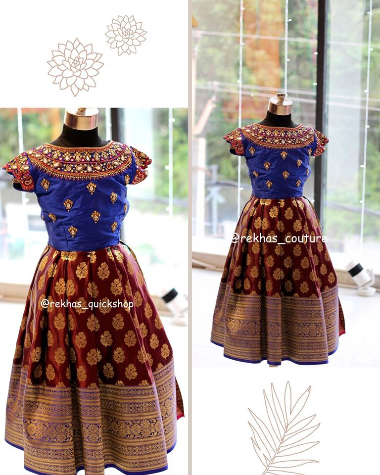 Stunning brown and royal blue color combination kids  lehenga and parikini from Rekhas. 2020-07-25
