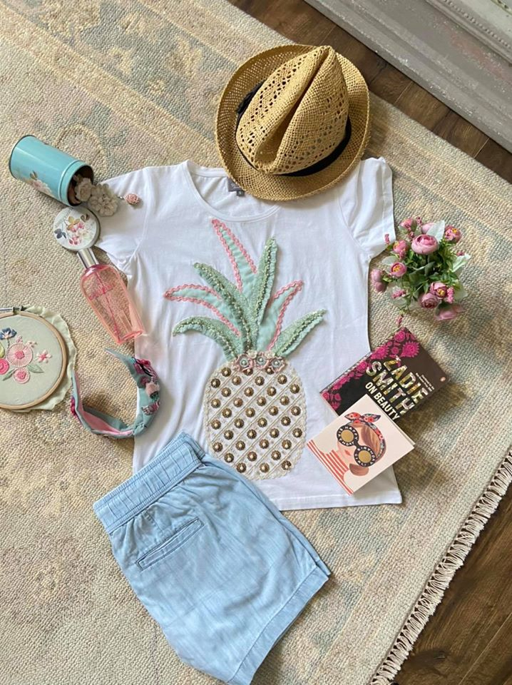 Beautiful white color T shirt and short. T shirt with pineapple hand embroidery work.  2020-07-27