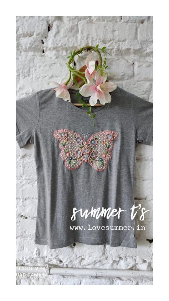 Beautiful gray color T shirt and short. T shirt with butterfly design hand embroidery work.  2020-07-27