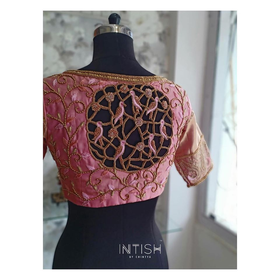 Bespoke Bridal blouse with cutowork detail in pretty pink silk from Intish. 2020-07-27