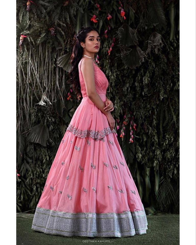 Leia ' 2020 collection from geethika Kanumilli. Stunning blush pink color lehenga and peplum top.  Jewellery : Manjula jewellers. MUA : Maneesh katam. Photography : Blue pin tale. 2020-07-29