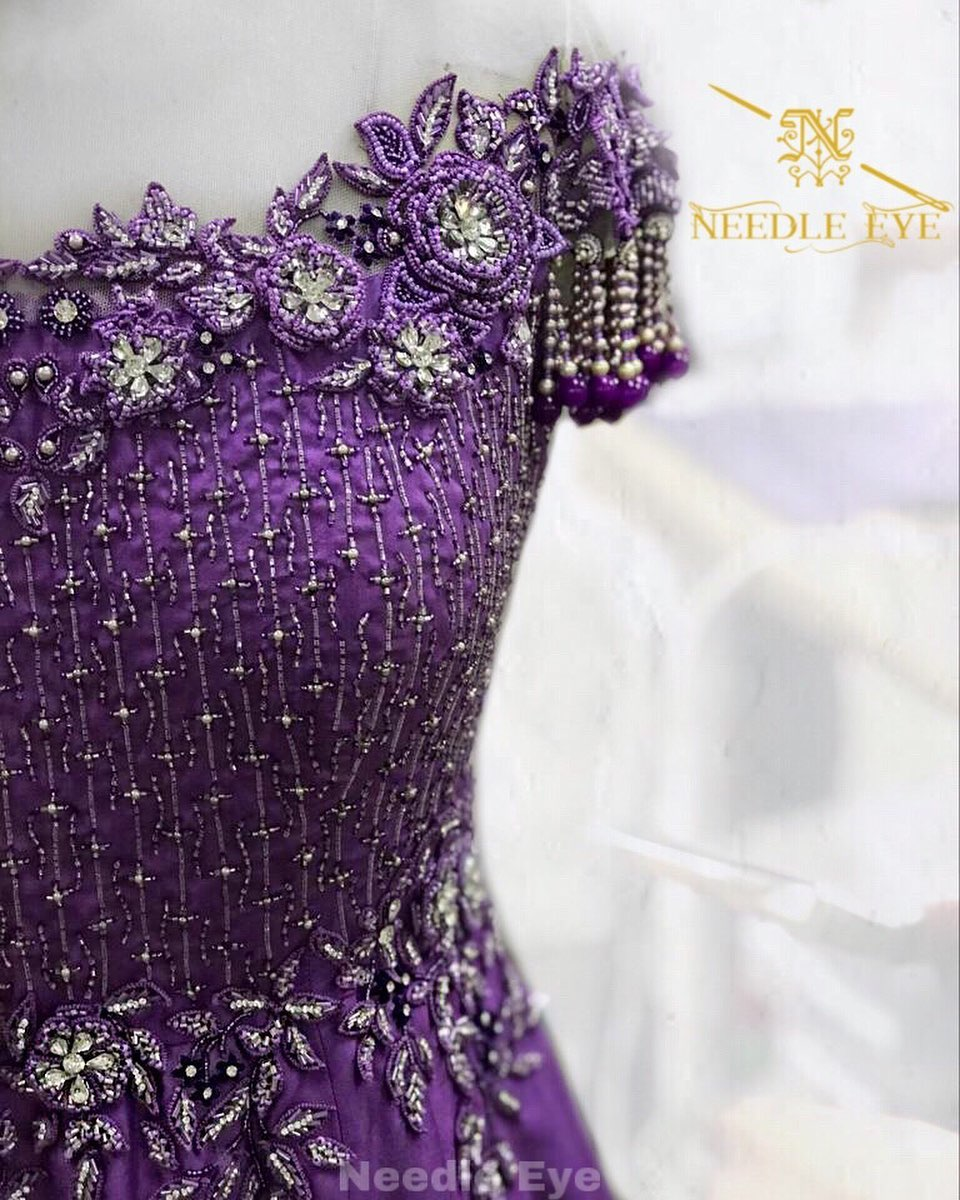 Couture details. Stunning purple gown with classy hand embroidery detailss.  2020-08-05