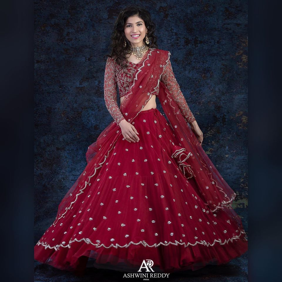 Look lovely in Ashwini Reddy co-ords sets. Stunning maroon color lehenga and blouse with net dupatta. 2020-08-12