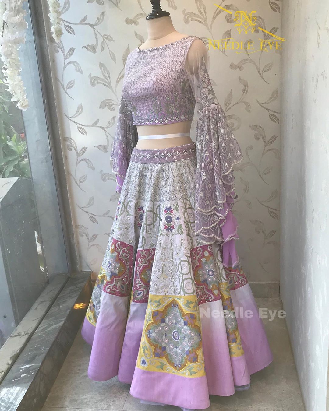 Lavender Romance. Stunning lavender lehenga and blouse with long bell sleeves. 2020-08-13