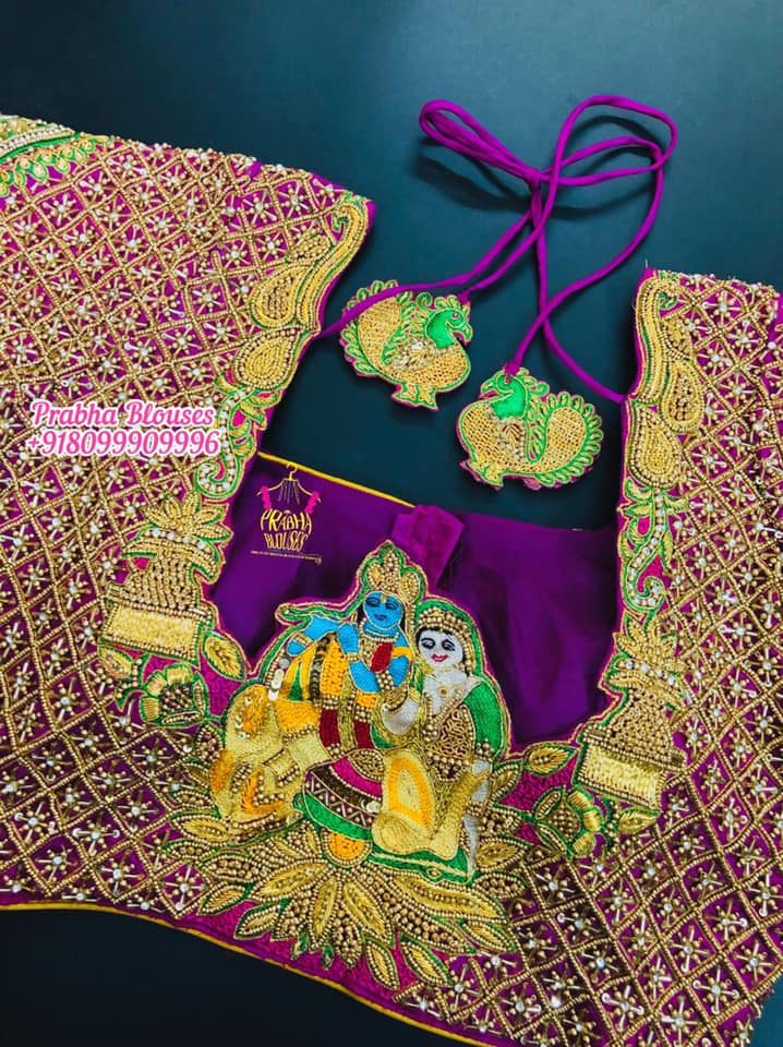 Gorgeous purple color designer blouse with Radha and Krishna design hand embroidery maggam work. Blouse with heavy maggam work.  2020-08-16