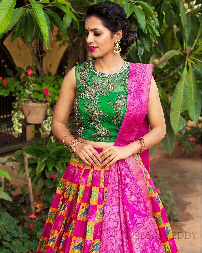 Lovely yellow and purple square combination lehenga and green crop top with benarasi dupatta from Sindhu Reddy. 2020-08-17