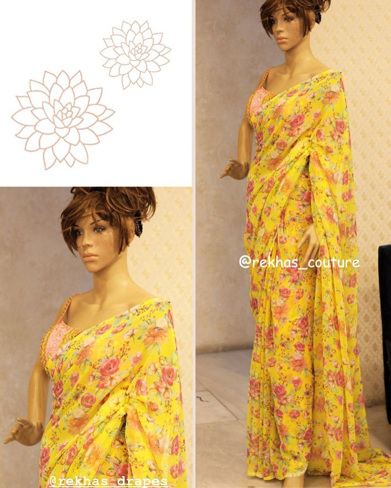 Yellow floral saree from Reekhas house of couture.  2020-08-27