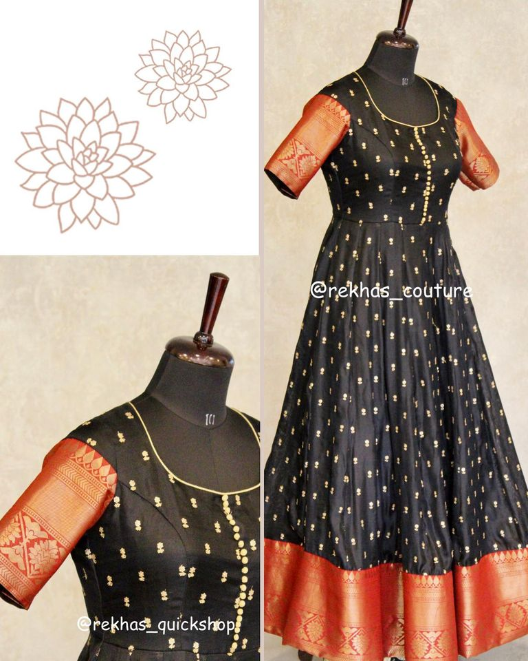 Lovely black color floor length kanchipattu long frock with big gold jari boarder from Rekha house of couture.. 2020-08-30