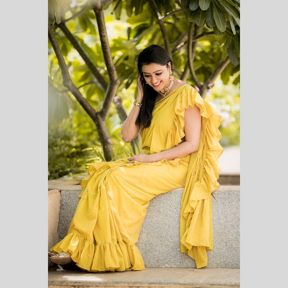 A saree is not simply an outfit. It's a power an identity  a language . Yellow color ruffle saree from Yoshnas. . Ever beautiful Pretty sunshine. Photography :  Camera Senthil Jewellery: vriksham. 2020-08-31
