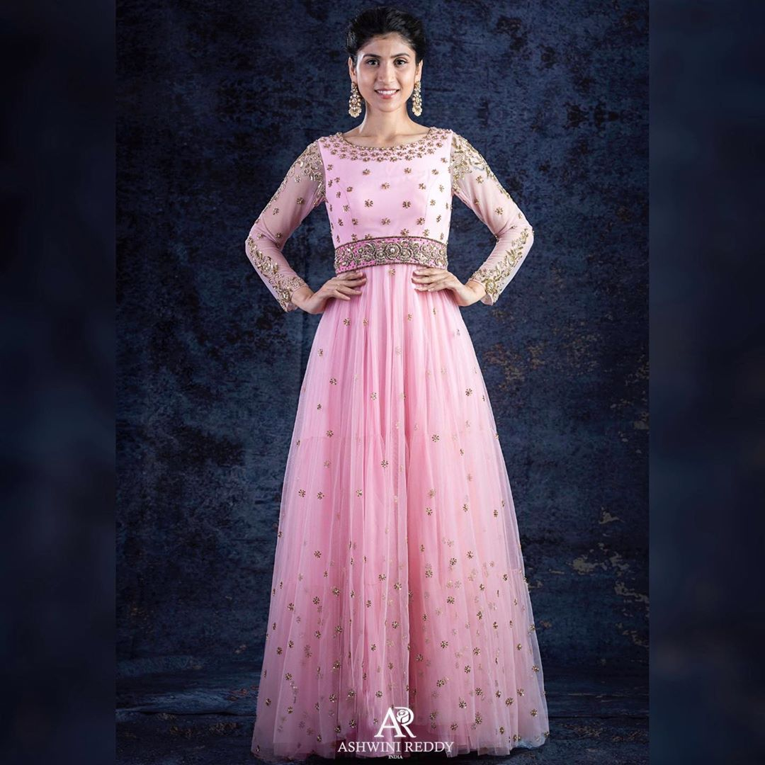 Sweet Pink Tulle Embroidered Gown With Detachable Belt.