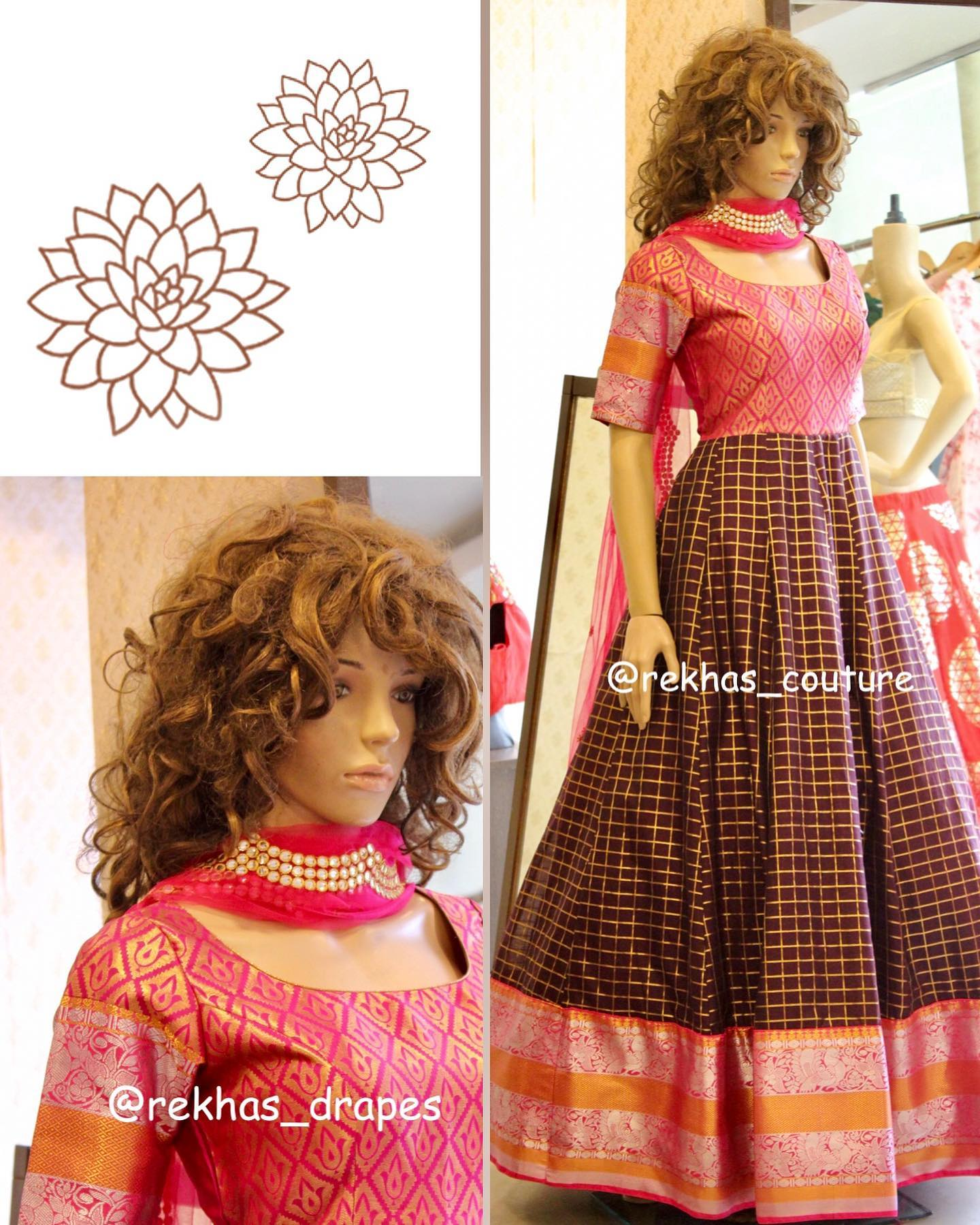Gorgeous pink and brown color combination floor length long gown with dupatta. Kanchi pattu long frock with big boarder.  2020-09-13
