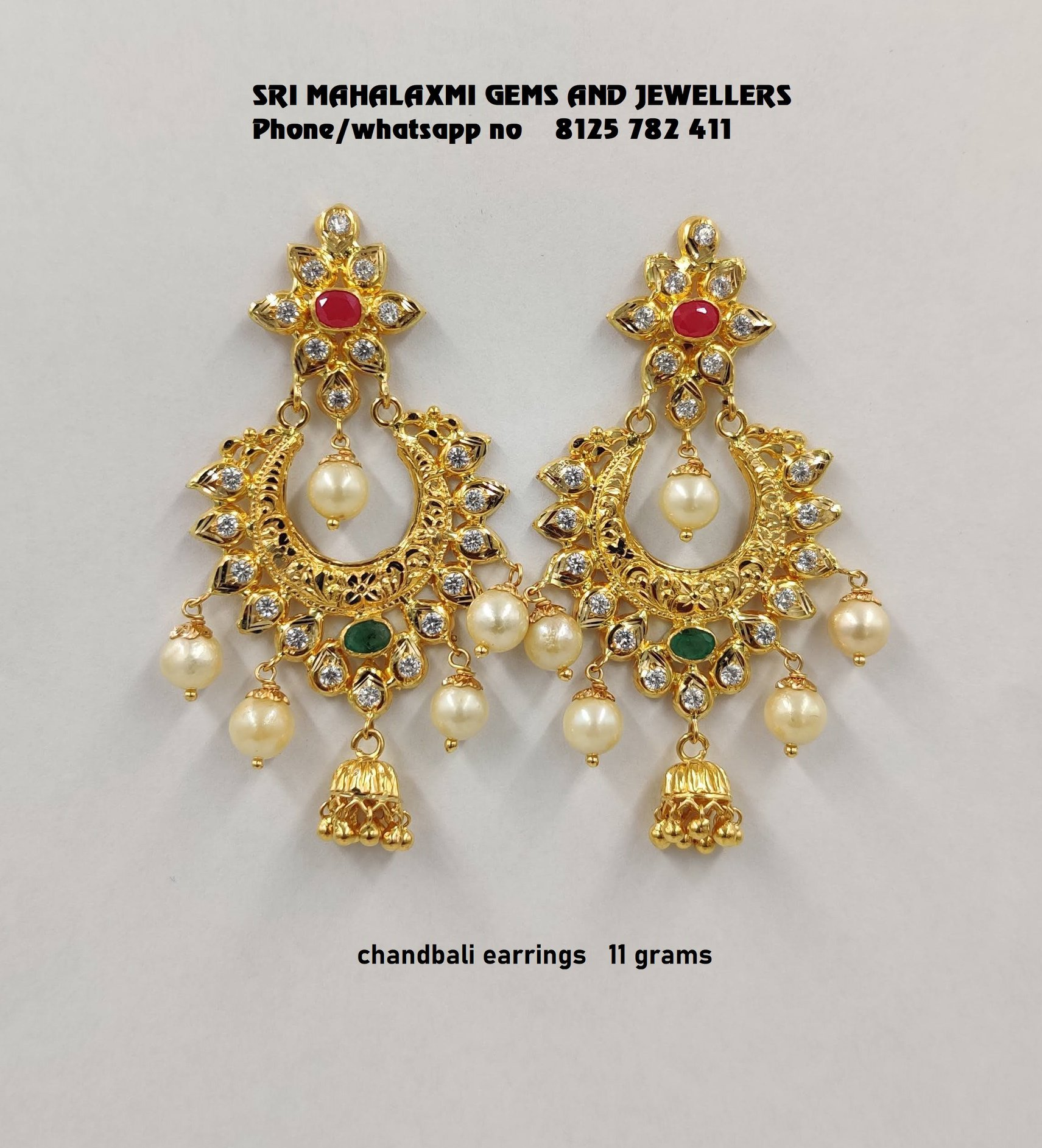 Stunning 22k gold chaandbali studded with precious stones and pearl hangings.. 2020-09-15