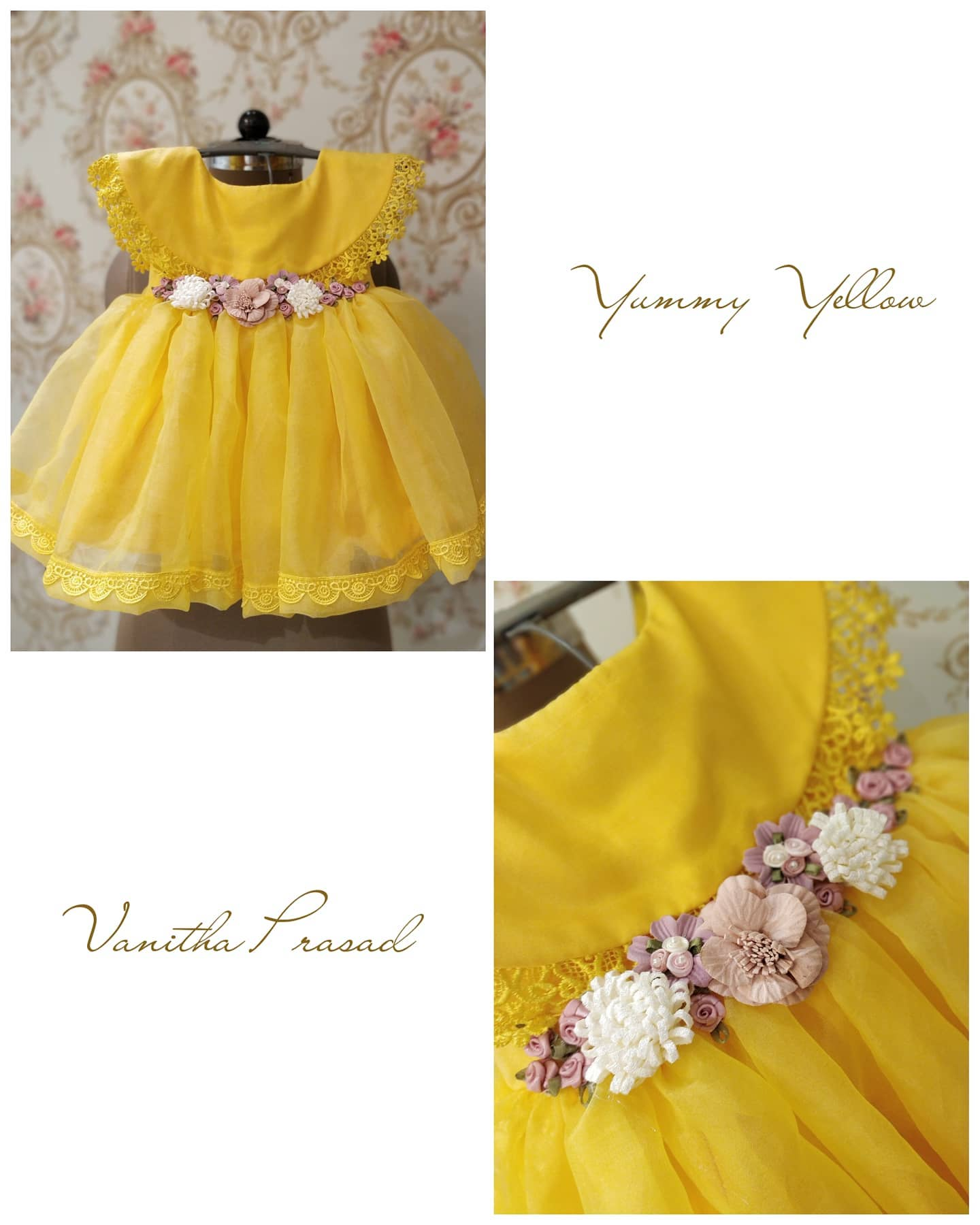 Beautiful yellow color birth day gown with waist belt.  2020-09-17