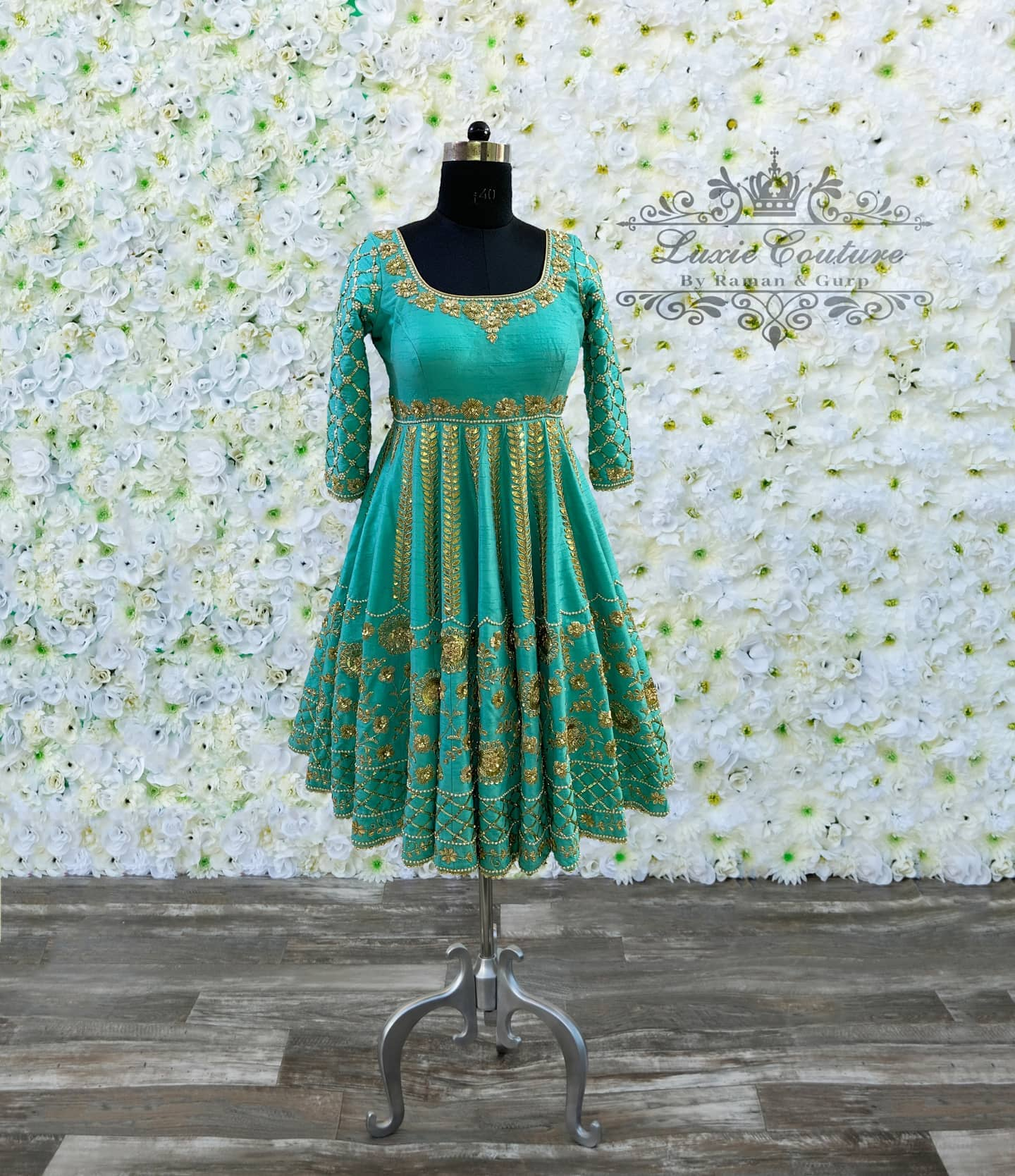 Hand embroidered raw silk anarkali! Perfect for any event. This piece can be made in any color.   2020-09-20