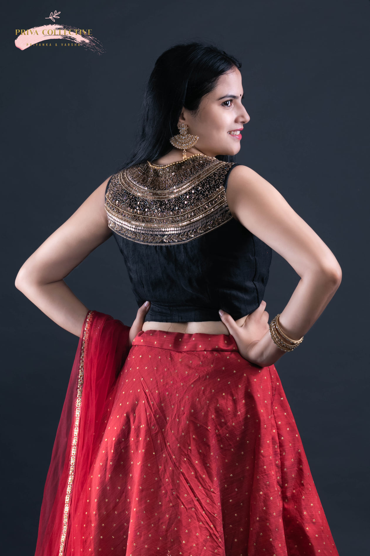 Maroon and black Lehenga. Black Heavily hand worked blouse paired with a maroon silk lehenga and maroon net duppata. Perfect for Sangeet  reception and mehndi Occasions. For prices and orders - Please email  call or whatsapp us. WhatsApp - 7995481918 Email - privacollective@gmail.com Call - 9160560480 plus size designer lehengas off white lehenga lehenga blouse design 2020-10-04