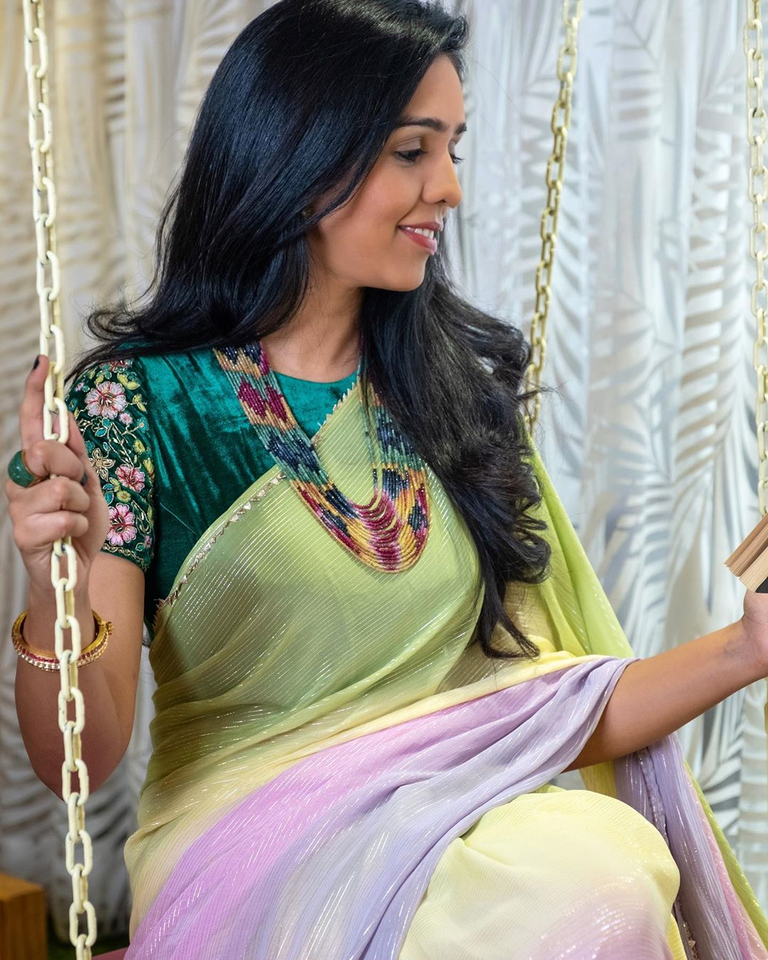 Beautiful Multi Color Designer Saree And Green Color Velvet Cloth Blouse With Hand Embroidery Work On