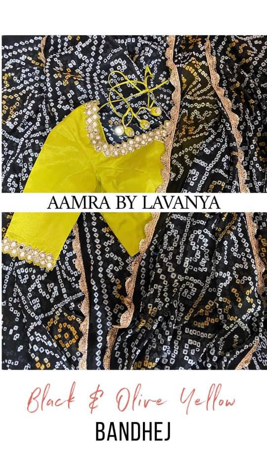 ~Signature Bandhej Collection~ Olive yellow hand embroidered mirror work blouse paired with a black handmade pure bandhani saree from Aamra By Lavanya signature bandhej collection. For orders and queries call/whatsapp on +91-9177363970 sari design hand work blouse design black georgette saree 2020-10-06