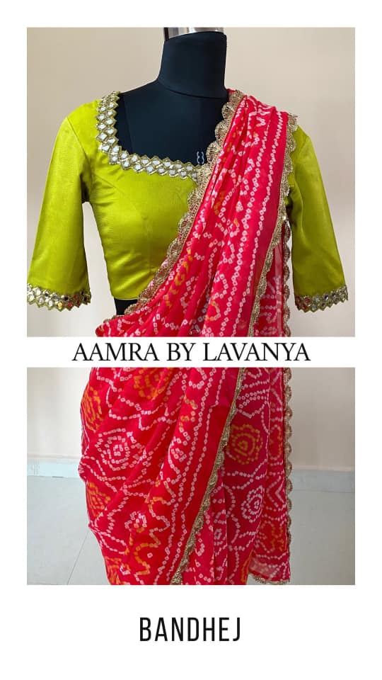 ~Signature Bandhej Collection~ Olive yellow hand embroidered mirror work blouse paired with a coral orange handmade pure bandhani saree from Aamra By Lavanya signature bandhej collection. For orders and queries call/whatsapp on +91-9177363970 net saree blouse sarees online benarasi blouse design 2020-10-08