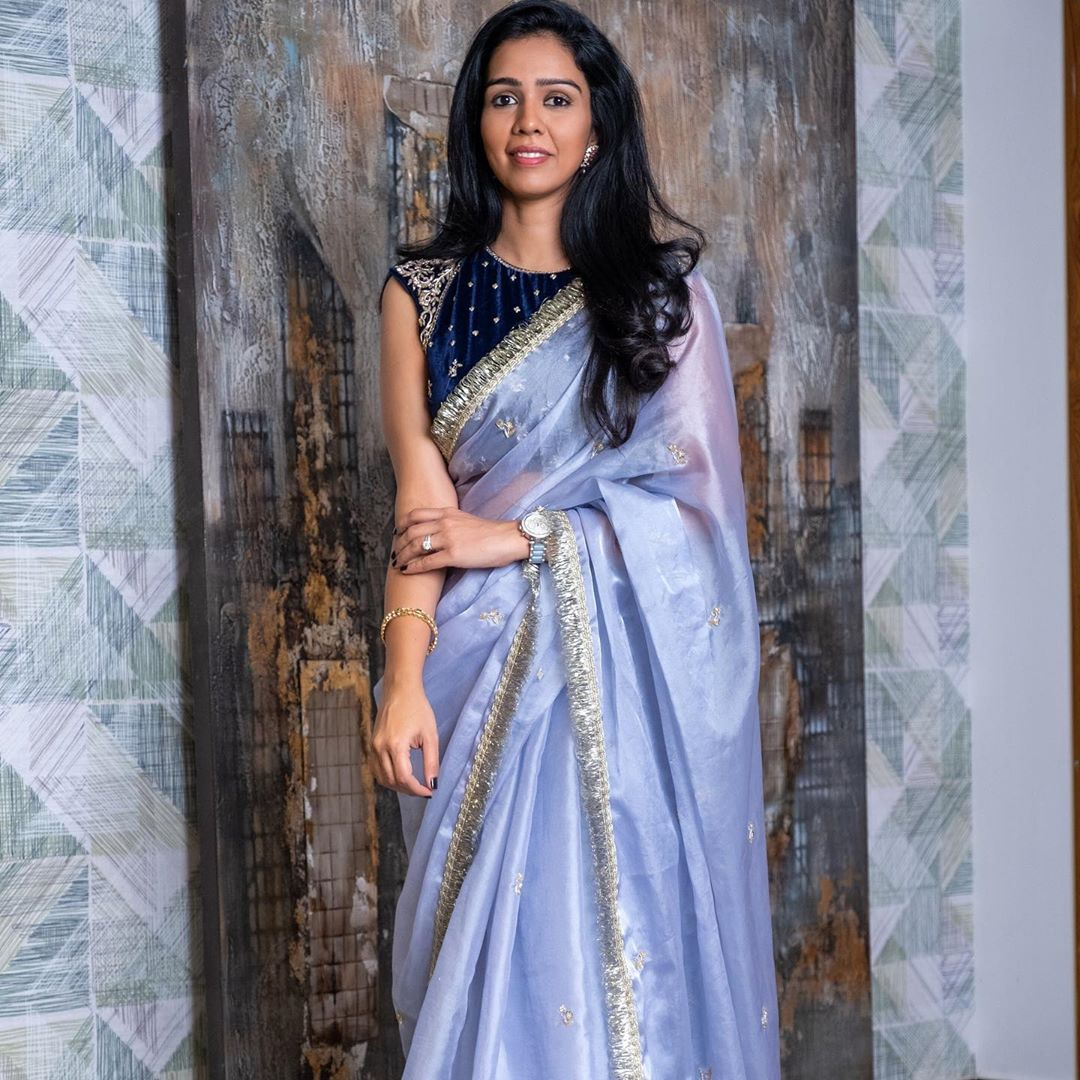 Stunning Designer Chetana Presenting all new festive flair collection with deep blue velvet embellished blouse and light blue organza saree. bridal saree collection designer sarees online shopping with price saree kuchu new designs 2020 2020-10-10