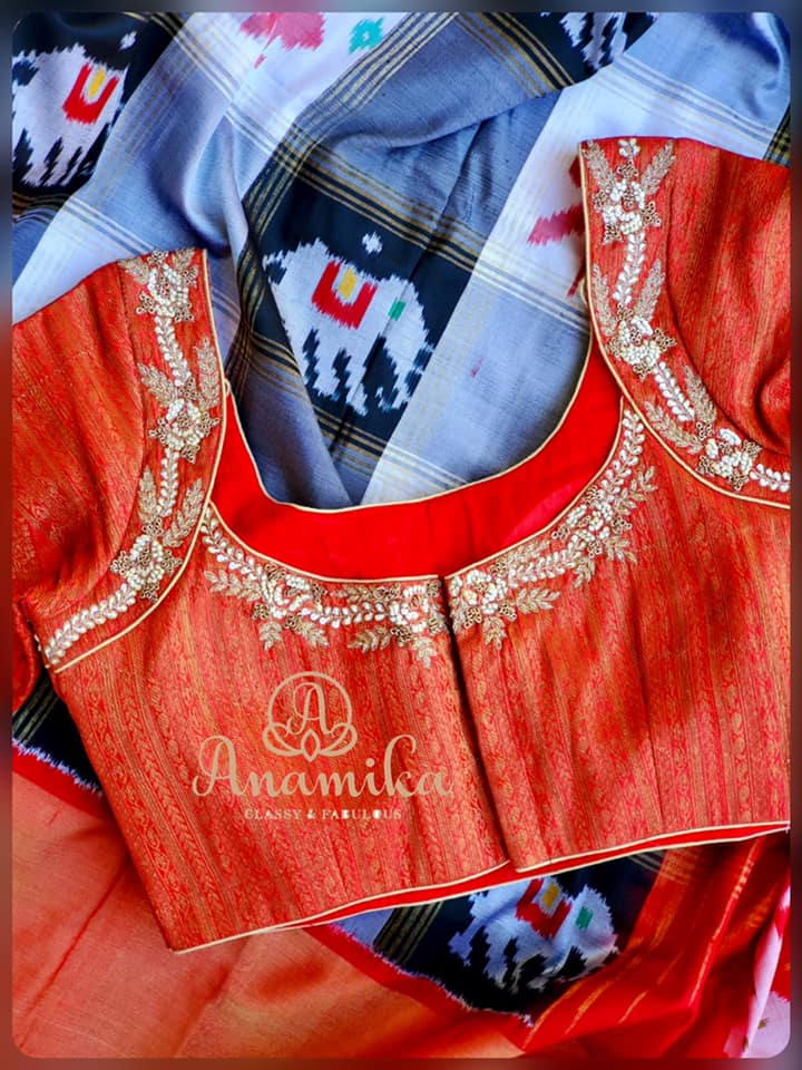 unique brocade styled work blouse from anamika Fashions.   new blouse   latest boat neck blouse designs 2020   saree blouse designs 2020   2020-10-13