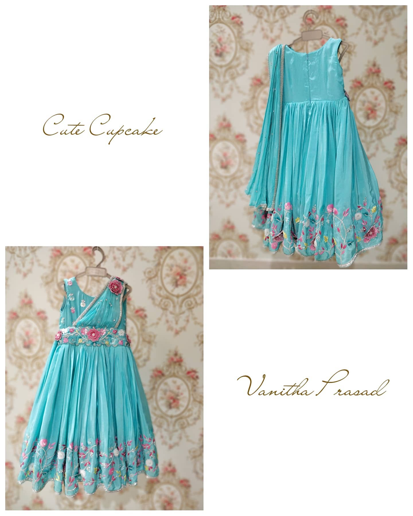 Beautiful powder blue color kids gown with floral design hand embroidery work.  | 4 to 5 year girl party dress | children long dress | wedding dress for kid girl | 2020-10-16