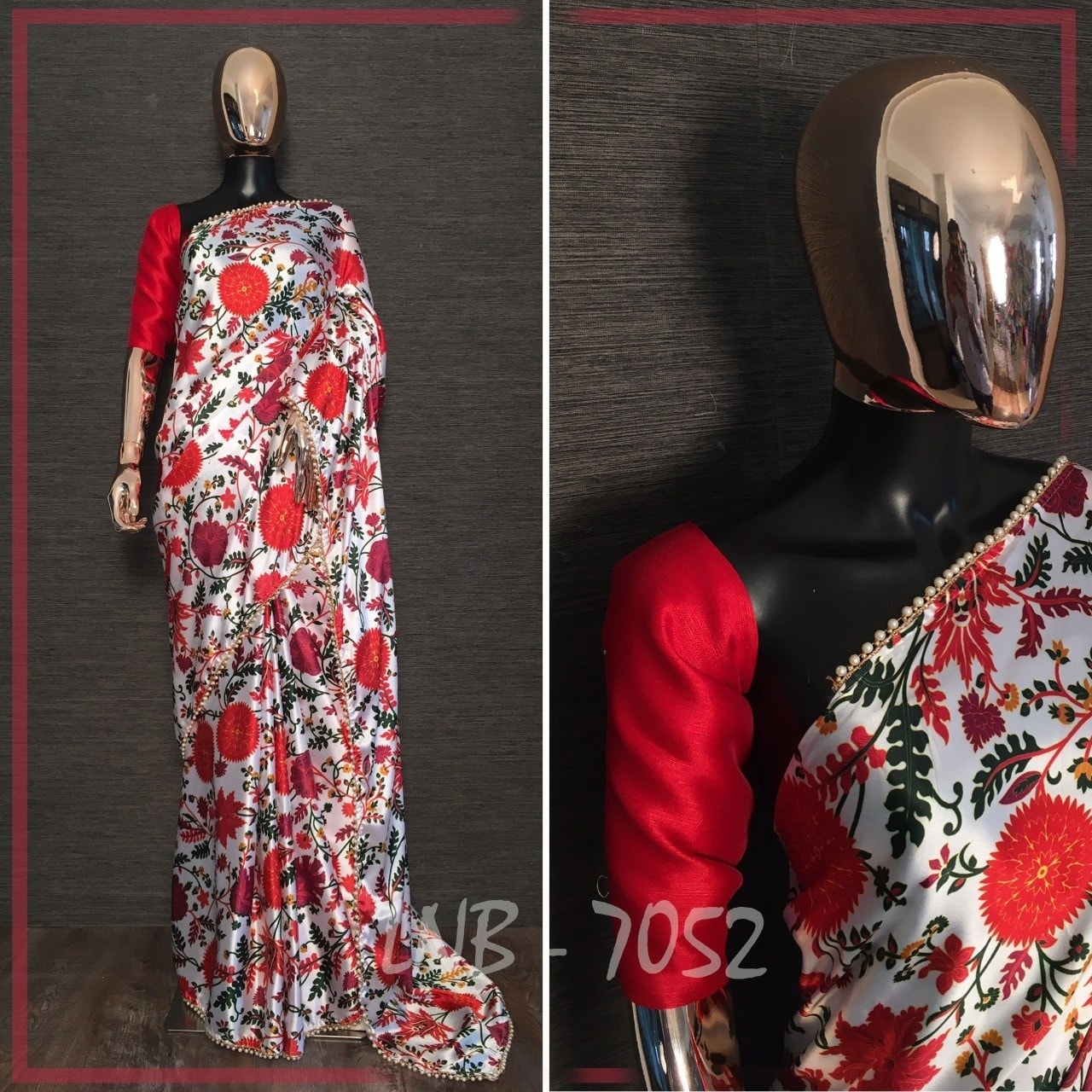 1500/- Japan satin saree with floral printed with pearl lace border saree length: 5.5 meter  Blouse fabric : raw Silk WhatsApp for order 9949519207 | bollywood replica sarees | pattu saree blouse designs 2020 | saree border design | 2020-10-18
