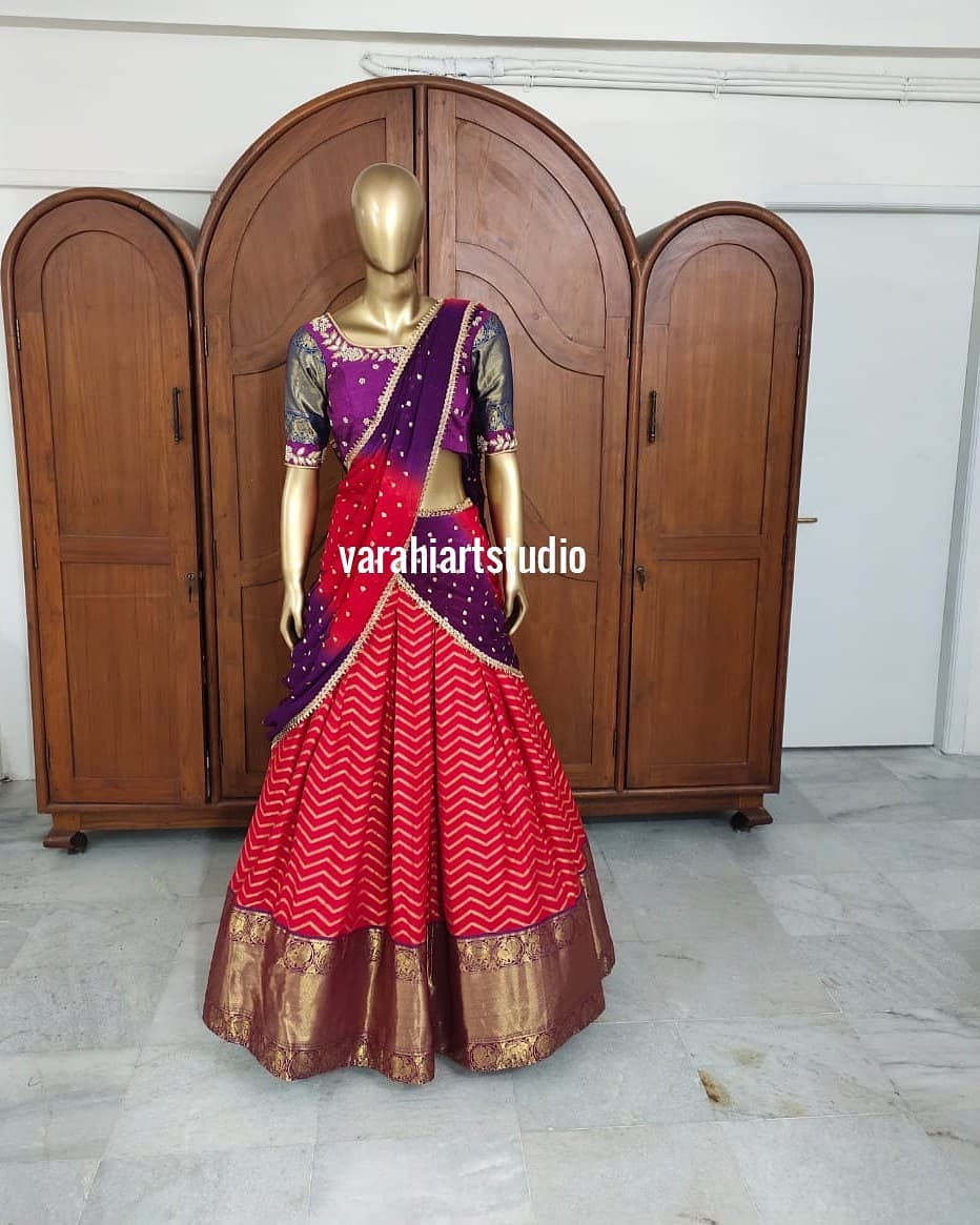 Beautiful halfsaree  from Varahi art studio.  This Outfit is Available at Rs 10800 from varahi art studio.. <br>  They can customise the size as per your Measurements.. <br>  They have international shipping service too