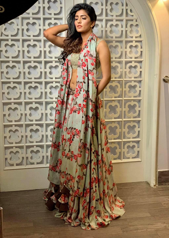 Stunning actress Eesha rebba in gray color floral lehenga and blouse with dupatta. | silk lehenga choli | lehenga choli online shopping with price | wedding dupatta online shopping | 2020-10-19