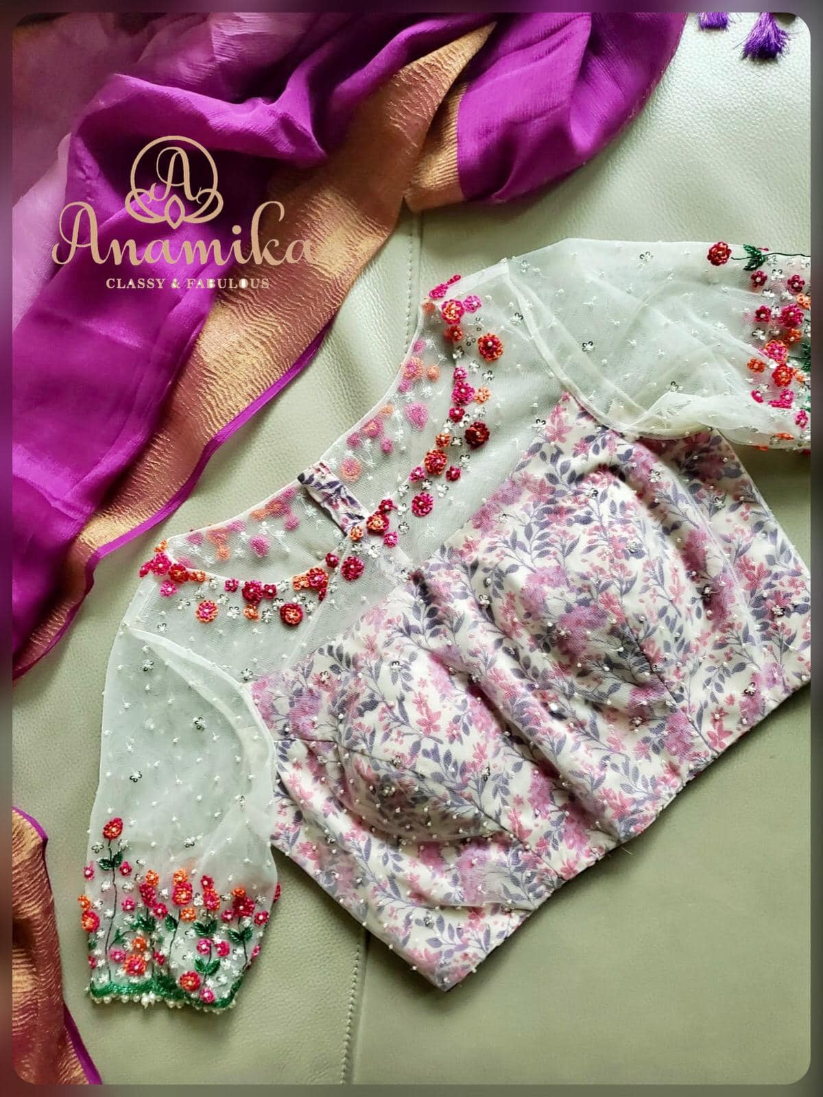 Purple puts us in touch with part of ourselves that is regal ! This dual shaded purple crepe silk saree paired with a lovely off white soft net floral blouse with delicate thread work is just royal  delicate and lovely !! DM 360-545-3636 or 425-598-6797 for inquiries   simple aari work designs   fashion design blouse   onam saree blouse designs   2020-10-20