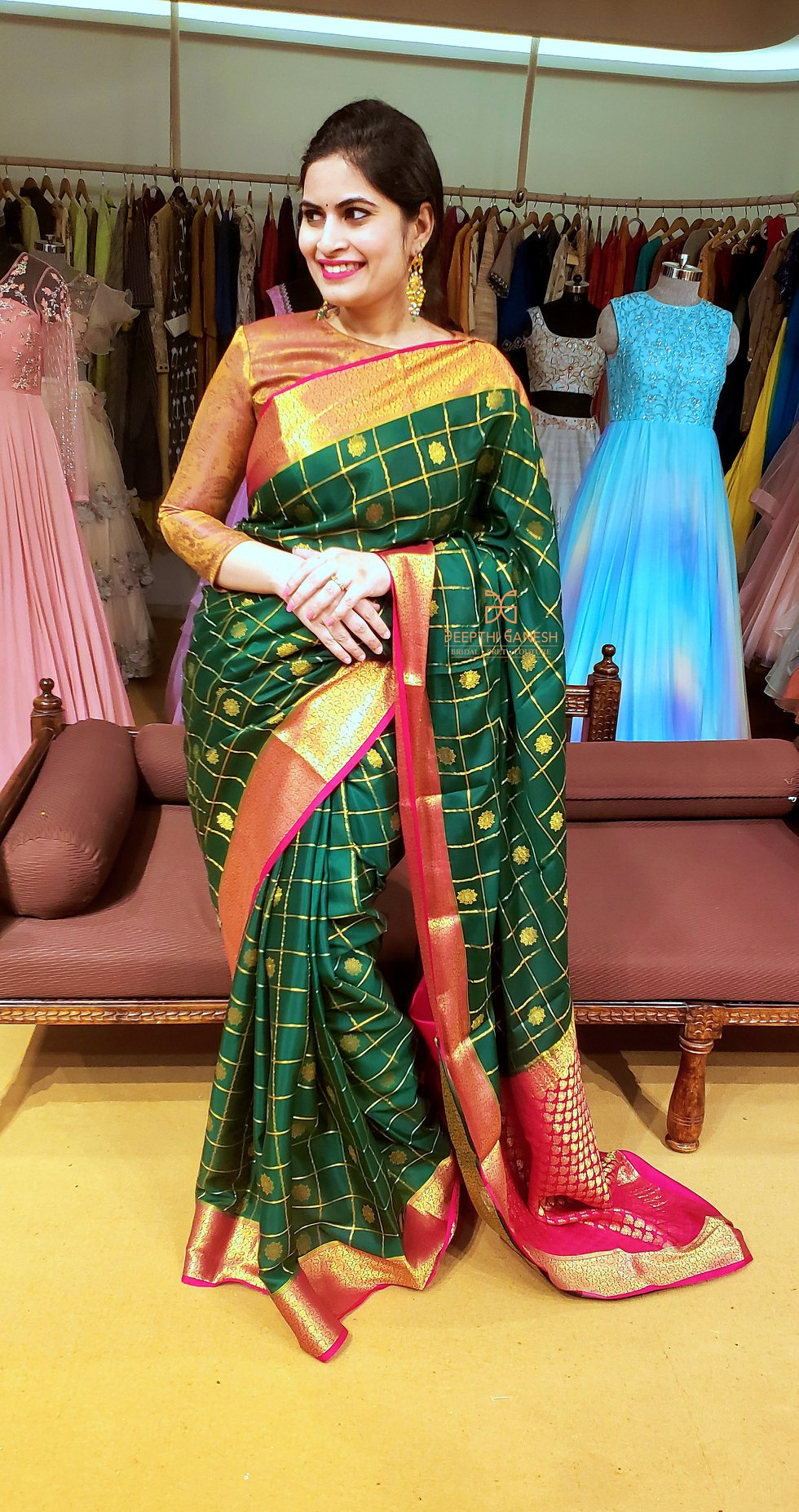 Colour green symbolises new beginnings. Dedicated to Goddess Katyayani  green colour is won on Navratri's sixth day to evoke a sense of growth  fertility  peace and serenity. Beautiful designer Deepthi Ganesh in green kanchi pattu saree. | wedding saree collection | patch work blouse designs for silk sarees | party wear saree blouse designs | 2020-10-24