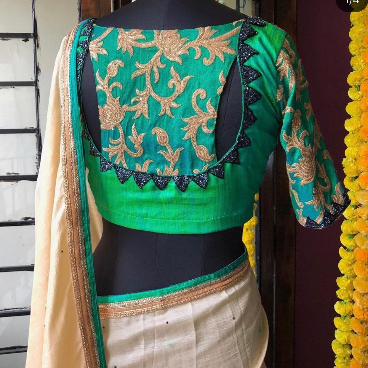 This beige saree and blouse set is crafted in silk lurex. silk saree with non transparent saree with heavy embroidery silk blouse with patterned back and heavy crystal work for yoke sleeves and back.The blouse features a round neck 3/4th sleeves  a patterned details at the back  embroidery details. Style this set with a pair of embellished heels and statement accessories to complete the look. For orders watsapp  on 9790242572 Mail  on orders@Threadslabel.com | dulhan lehenga choli | chaniya choli blouse | lehenga designs 2020 for girl | 2020-10-26