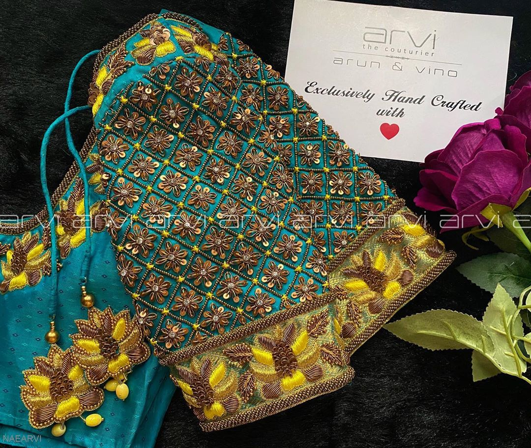 Gorgeous bridal designer blouse with floral design hand embroidery aari work.  | blouse ki astin ki design | latest lehenga blouse design | blouse ke gale | 2020-10-29