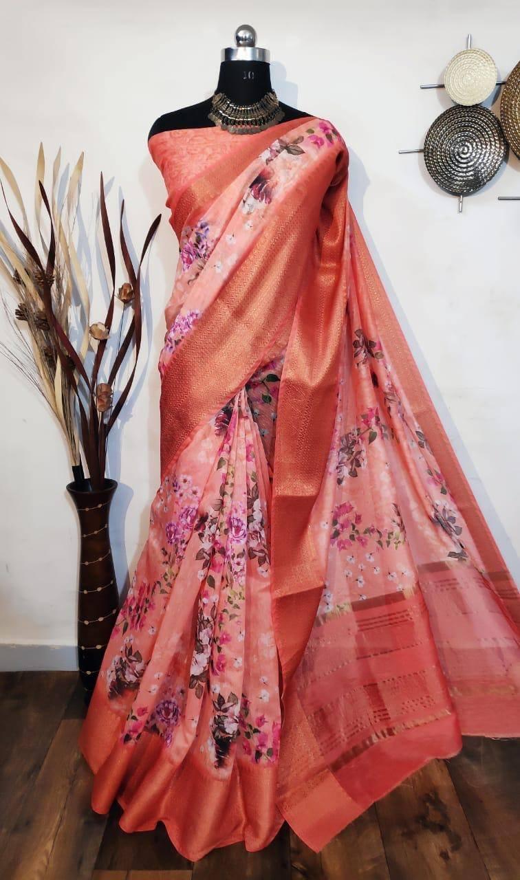 1650/- Handloom Linen silk Saree With Digital Print Zari Woven Pallu Jacquard Border With SelfPrinted Blouse WhatsApp for order 9949519207 |  |  |  | 2020-11-03