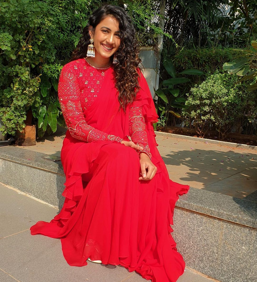 Indian chikankari artfully done hand embroidery blouse paired with Contemporary drape saree wore by Niharika konidela . | pattu blouse stone work designs | fashionable saree | net wala saree | 2020-11-08